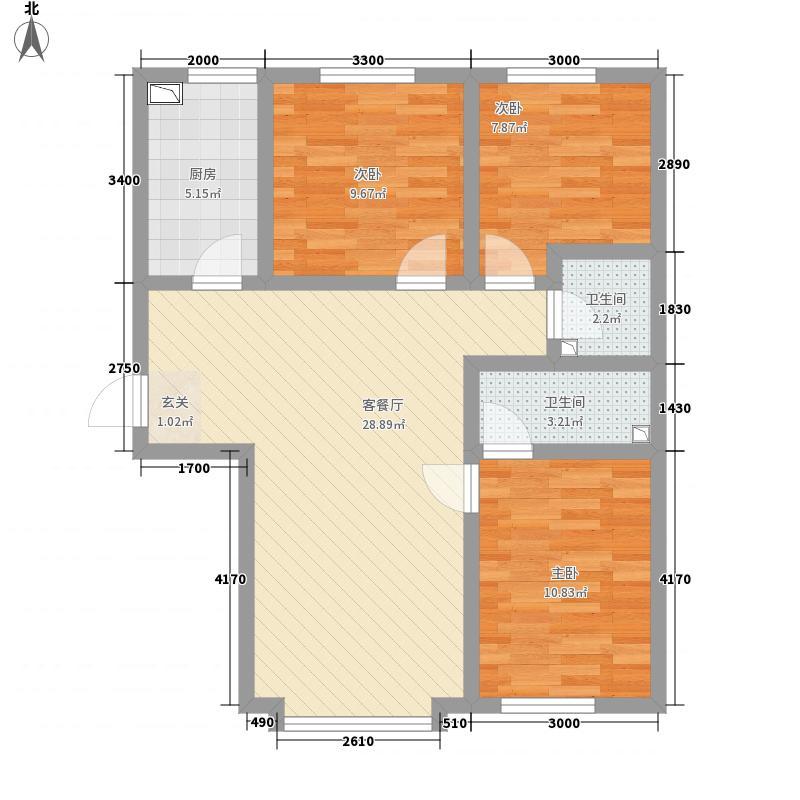 卓琳家园75.10㎡1号楼C户型3室2厅2卫1厨