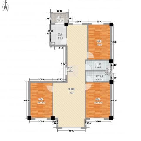 弘福俪景3室1厅2卫1厨138.00㎡户型图