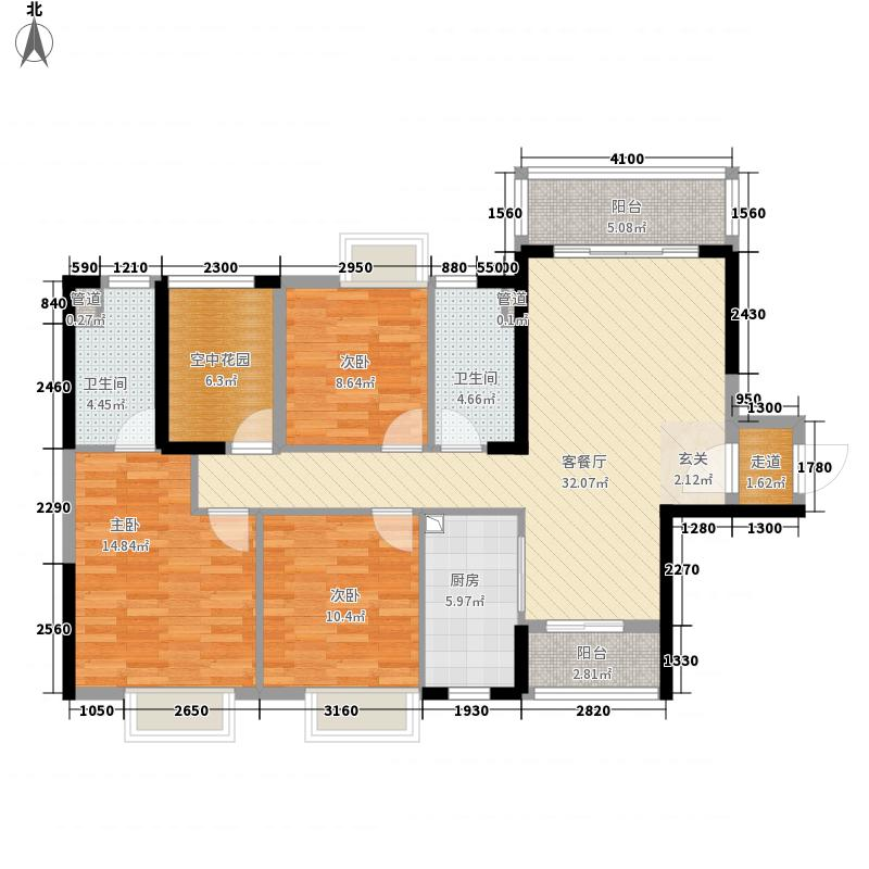 保利紫山128.00㎡14栋1梯01户型4室2厅2卫1厨