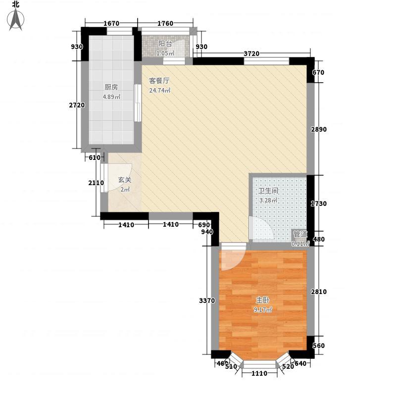 云锦台1室1厅1卫1厨62.00㎡户型图