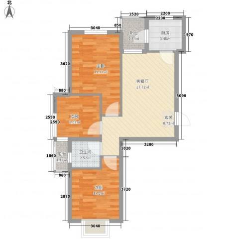 惠缘佳居3室1厅1卫1厨77.00㎡户型图