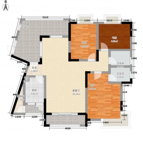锦绣江山3室1厅2卫1厨132.85㎡户型图