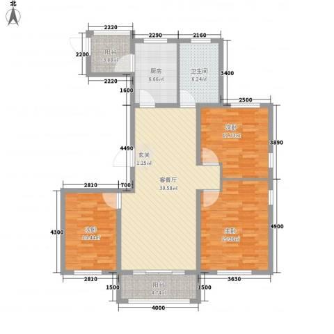 西苑华府3室1厅1卫1厨131.00㎡户型图