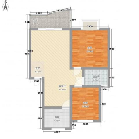 海德旭园2室1厅1卫1厨75.00㎡户型图