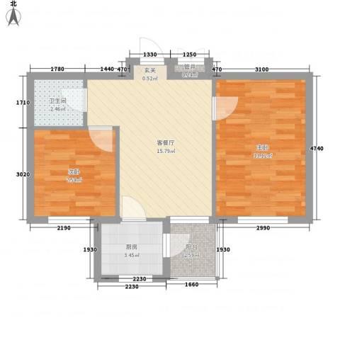 惠缘佳居2室1厅1卫1厨64.00㎡户型图