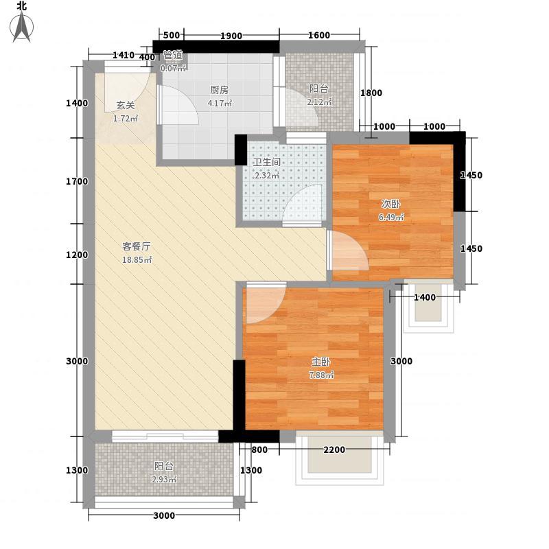 德雅湾・阳光海5.00㎡12、18栋02单位户型2室2厅1卫1厨
