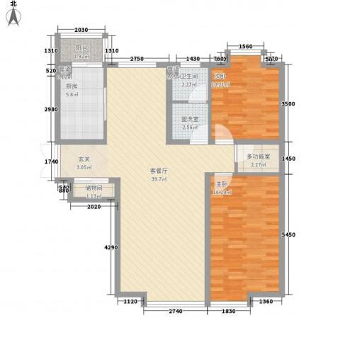 新世界花园湾景华庭2室2厅1卫1厨128.00㎡户型图