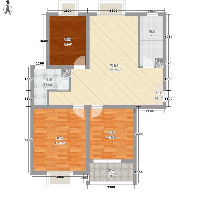 东海星城112.71㎡5期23/24#E3户型3室2厅1卫1厨