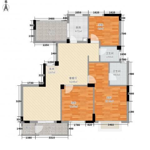 长江国际二期晶源3室1厅2卫1厨133.00㎡户型图