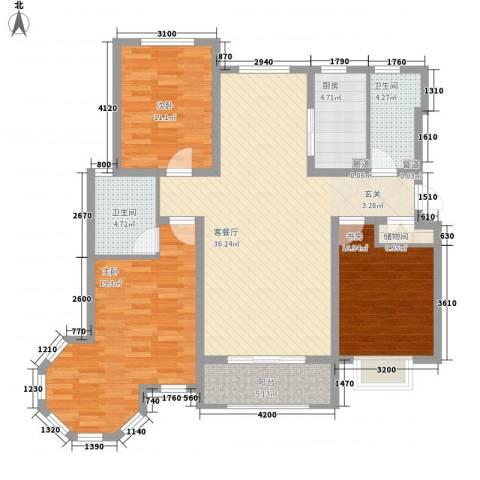 天地名都3室1厅2卫1厨139.00㎡户型图