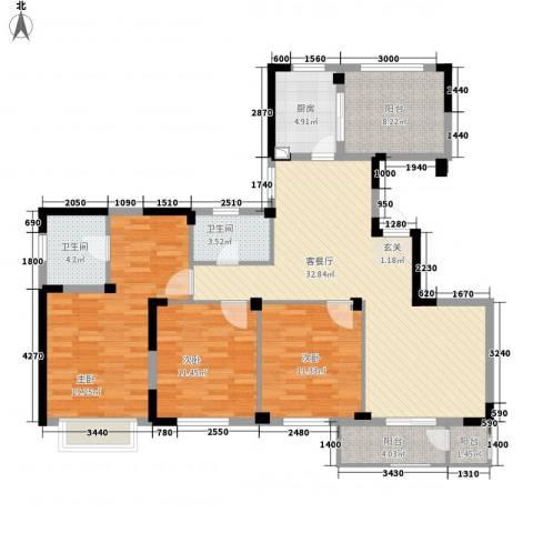长江国际二期晶源3室1厅2卫1厨143.00㎡户型图