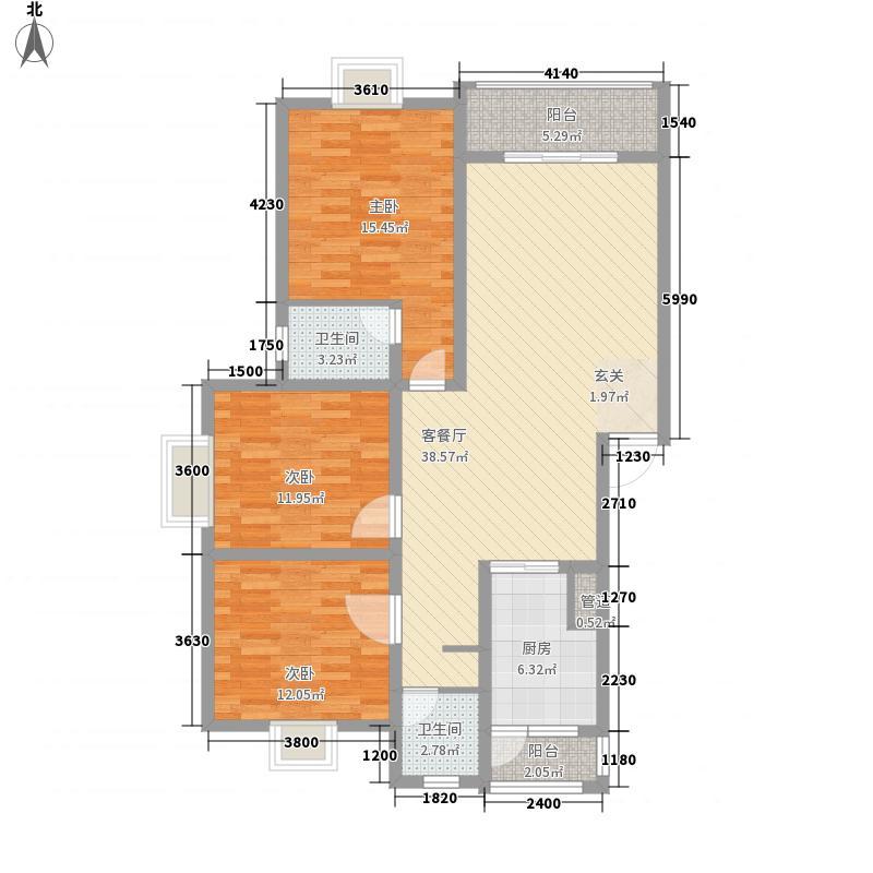 玉虹城115.24㎡4#1号户型3室2厅2卫1厨
