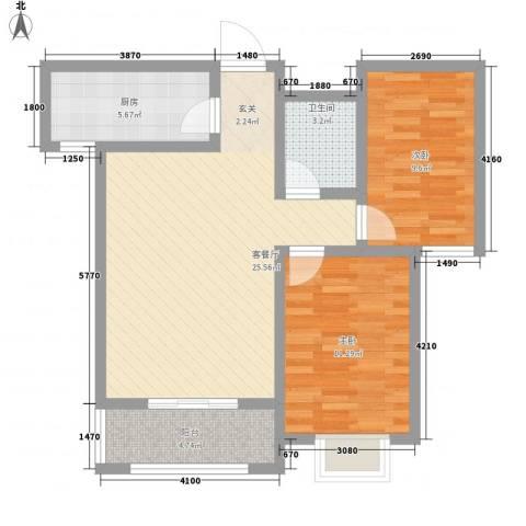 天地名都2室1厅1卫1厨86.00㎡户型图