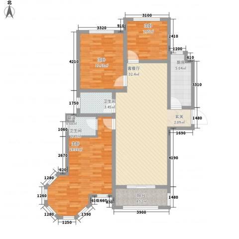 天地名都3室1厅2卫1厨123.00㎡户型图