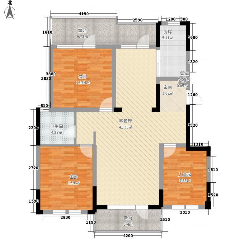 金地滟澜山14.10㎡702户型3室2厅1卫1厨