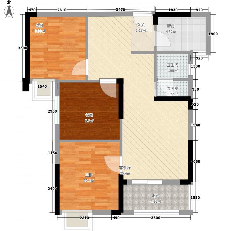 纽宾凯汉city国际社区2.00㎡K10地块1、3号楼B1户型3室2厅1卫1厨