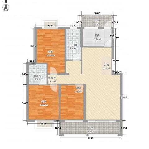 翠江锦苑3室1厅2卫1厨128.00㎡户型图