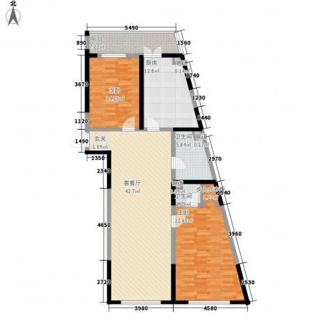 丽水蓝天2室1厅2卫1厨147.00㎡户型图