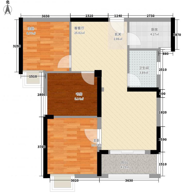 纽宾凯汉city国际社区3.00㎡K10地块4号楼C1户型3室2厅1卫1厨