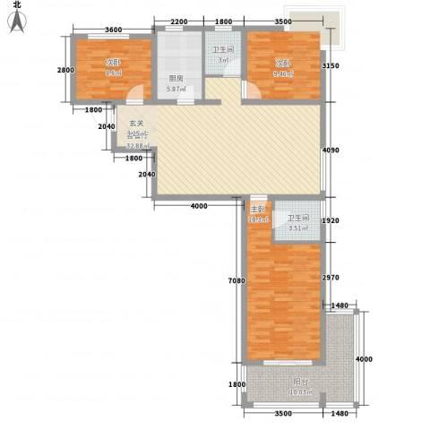 富友名族大厦3室1厅2卫1厨143.00㎡户型图