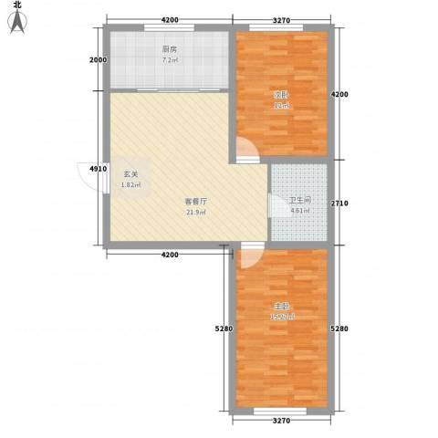 金城福邸2室1厅1卫1厨85.00㎡户型图