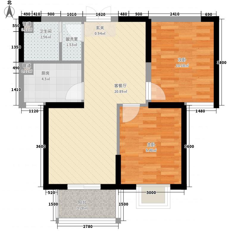 新城林湾72.47㎡6#楼两居户型2室2厅1卫1厨
