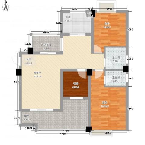 东方领秀3室1厅2卫1厨112.00㎡户型图