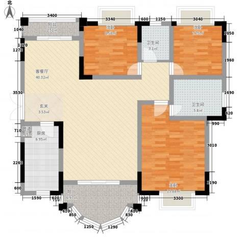 锦绣江山3室1厅2卫1厨113.07㎡户型图