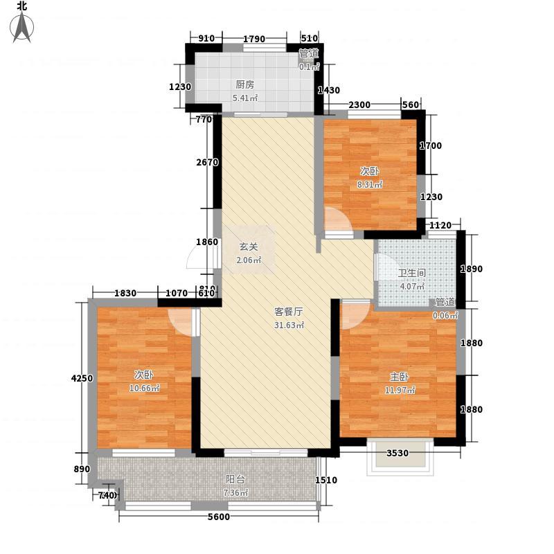 绿地工润・和平壹号114.00㎡一期高层2#3#5#6#8#10#11#号楼C户型3室2厅1卫1厨