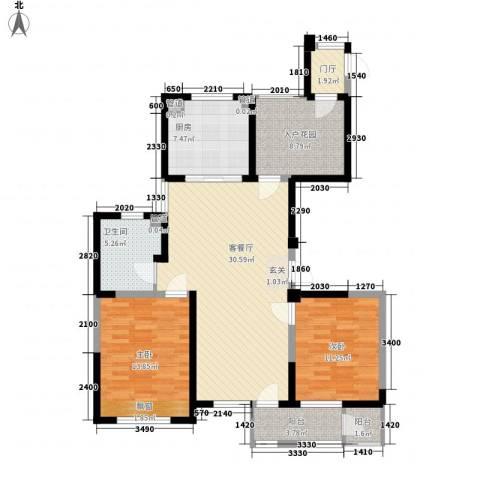 长江国际二期晶源2室1厅1卫1厨122.00㎡户型图