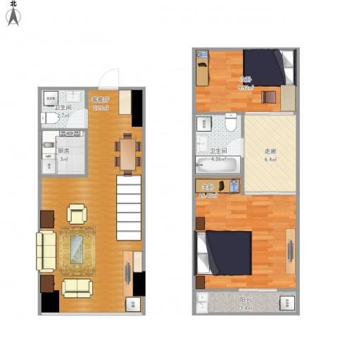 万益广场2室1厅2卫1厨102.00㎡户型图