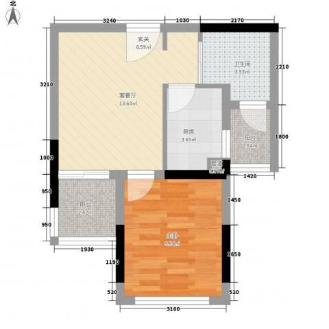 宏达花园1室1厅1卫1厨108.00㎡户型图