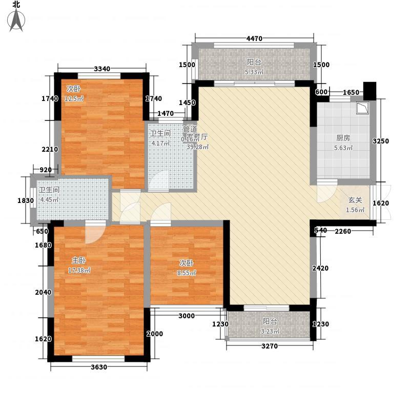 绿茵温莎堡香堤121.67㎡109-110栋01户型3室2厅2卫1厨