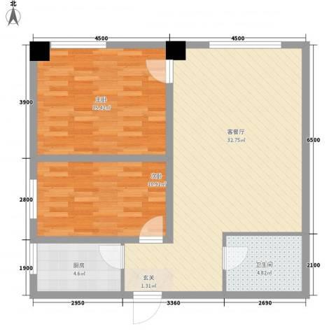 海棠铭居二期2室1厅1卫1厨97.00㎡户型图