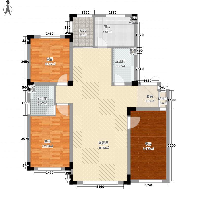龙湾壹品13.64㎡A6#A户型3室2厅2卫1厨
