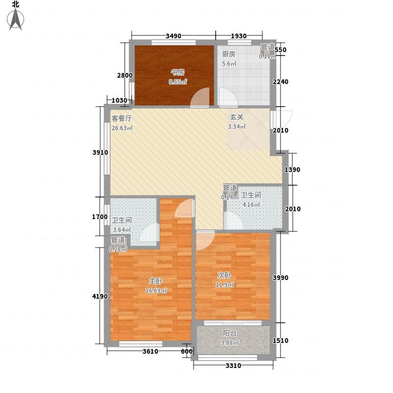宏大熙景园3115.20㎡B户型3室2厅2卫1厨