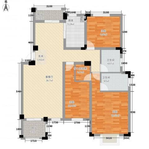 晟地绿园3室1厅2卫1厨138.00㎡户型图