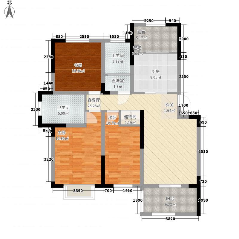 海峡曼乔世家135.00㎡A2户型3室2厅2卫1厨
