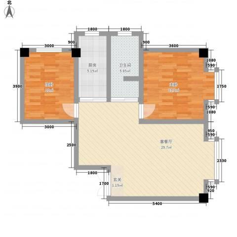 海棠铭居二期2室1厅1卫1厨91.00㎡户型图