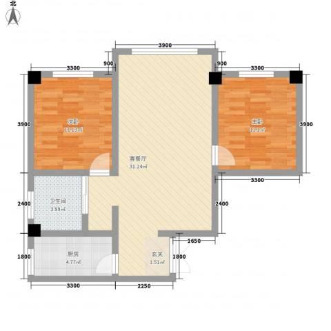 海棠铭居二期2室1厅1卫1厨90.00㎡户型图