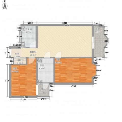 中鑫国际2室1厅1卫1厨101.00㎡户型图