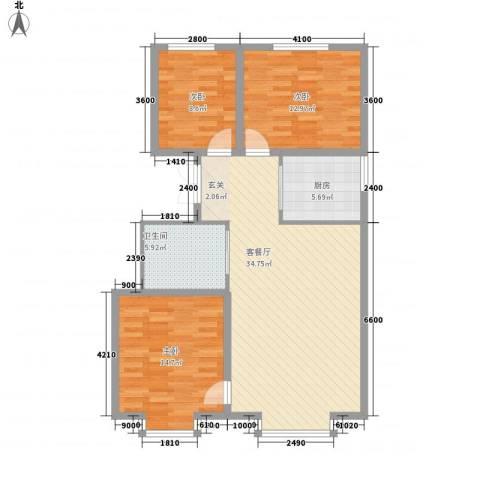 海棠铭居二期3室1厅1卫1厨116.00㎡户型图