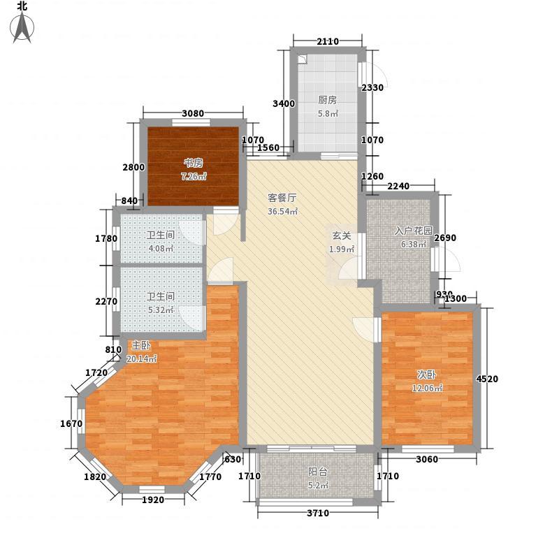 滕商奥体花园147.62㎡D1户型3室2厅2卫1厨