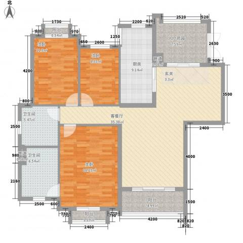 天乙海岸名都3室1厅2卫1厨143.00㎡户型图
