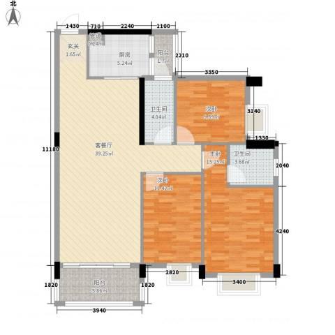 富景花园3室1厅2卫1厨124.00㎡户型图