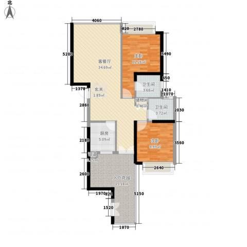 国际邮轮城一期2室1厅2卫1厨120.00㎡户型图