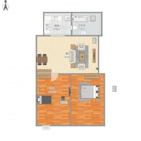 富贵牡丹园2室1厅1卫1厨104.00㎡户型图
