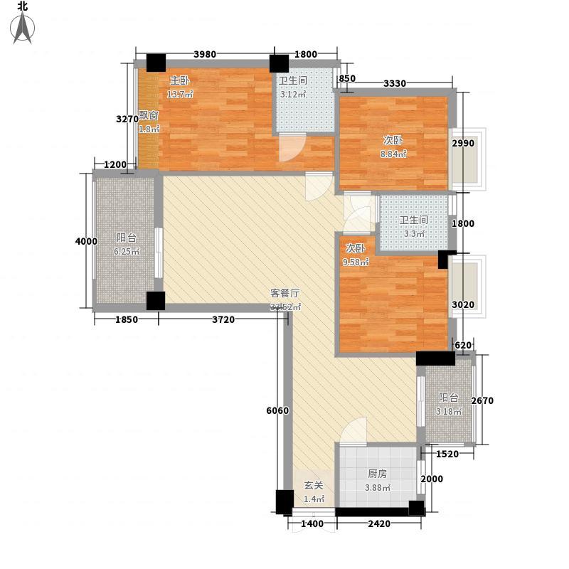 亿力悦海12.57㎡4梯4、7、10、13层04单元户型3室2厅2卫1厨