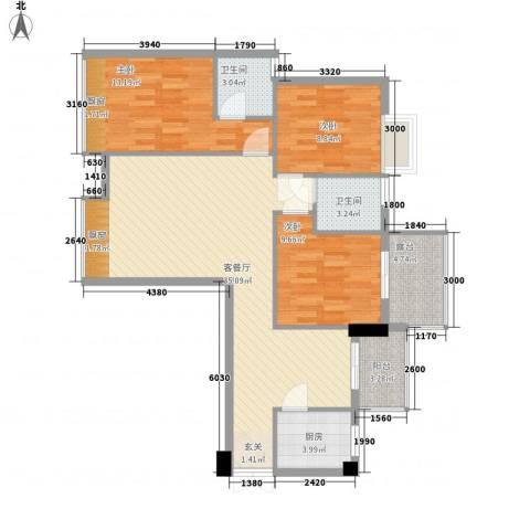 亿力悦海3室1厅2卫1厨85.03㎡户型图