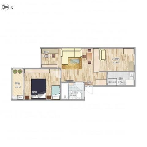 香山新村东北街坊2室1厅1卫1厨67.00㎡户型图